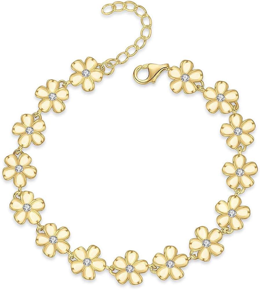Kaletine Daisy Flower Bracelet White Laser Engraved 925 Sterling