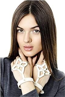 L'VOW Punk White Faux Leather Hand Harness Adjustable Straps Bracelet for Girls Women