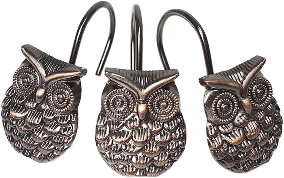 Owl San Antonio Mall Shower Curtain Hooks 12Pcs - Zinc Decorative Proo Alloy Rust New arrival