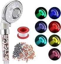 Rovtop Alcachofa de Ducha LED - Cabeza de Ducha 3 Modos Masaje con 7 Cambio de Color Alta Presiòn Ahorro de Agua con Filtro Mineral de Perlas