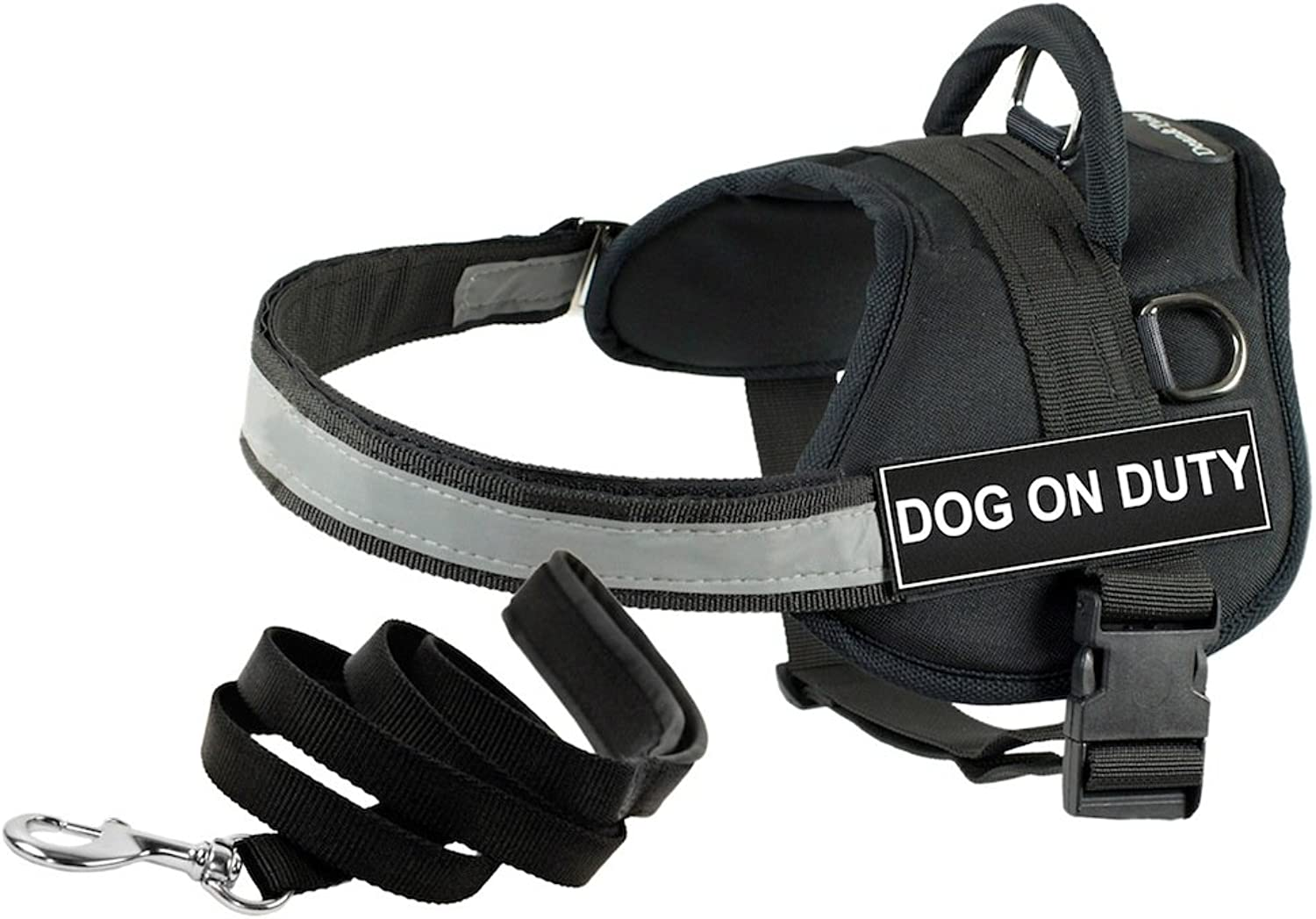 Dean and Tyler Bundle One DT Works Harness, Dog On Duty, XXSmall (18, 21) + One Padded Puppy Leash, 6Feet Stainless Steel Snap, Black