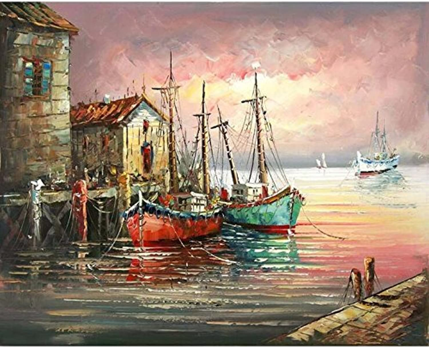 Paint by Number Kit,Diy Oil Painting Drawing Ships Pier Canvas with Brushes Decor Decorations Gifts - 16x20 inch with Frame