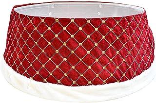 SLDHFE Collier de sapin de Noël, 61 cm, anneau de sapin de Noël, jupe de sapin de Noël, cache-pied rouge, décorations de s...