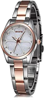 Skone Fashion Women's Watch,Stainless Steel Two-Tone Bracelet Ladies Watches,Waterproof Analog Quartz Dress Watches for Women
