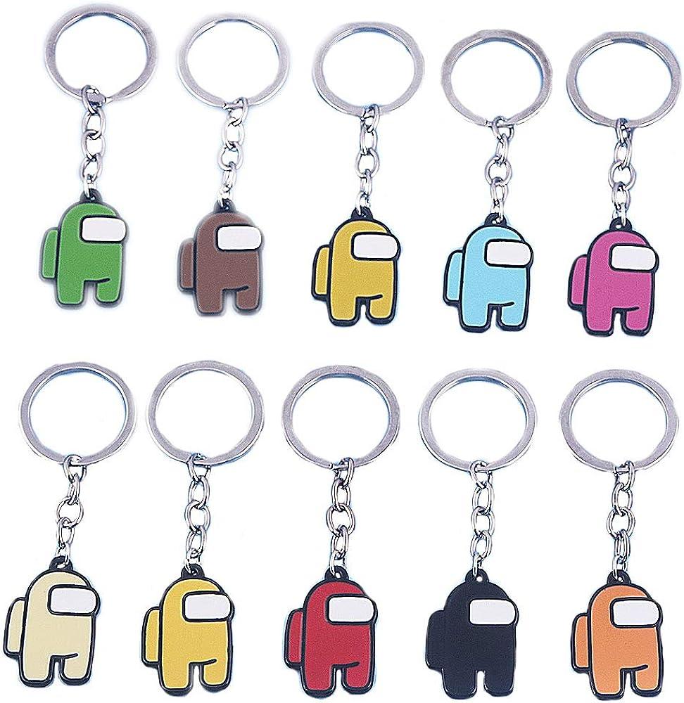 NNAA 10PCS Cartoon Keychain, Double Sided Game Cute Cartoon Keyring Toys Christmas Pedants