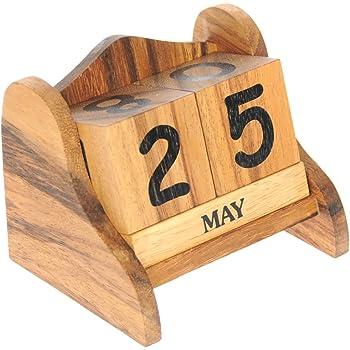 Legno Calendario perpetuo in Legno - Regalo per casa, scrivania o Camera da Letto (12x10x9,5 cm)