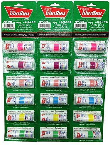 Poysian Menthol Salt Nasal Inhaler/inhalant (Pack of 6 Colors, 65g / 2.29 Oz) By Thailand