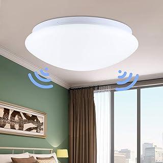 Plafonnier LED DONGKIKI avec détecteur de mouvement, plafonnier avec capteur de lumière du jour, 12 W, tôle d'acier et acr...