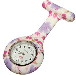 New Flowers Silicone Quartz Movement Nurse Brooch Fob Tunic Pocket Watch