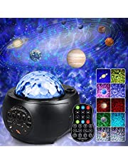infinitoo Night Light Projector, Galaxy Projector Light Starry Star with 9 Planets Night Light Built-in Bluetooth Speaker, Ocean Wave Light with Remote Control for Kids Adults Gifts Room Home Decor