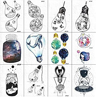 yyyDL 3D Ballena Bulbo Tatuaje temporal Flash Mujeres Cuerpo Brazo Galaxy Tatuajes Cielo Dibujos animados Chicas Piernas Tatuaje Pegatinas 10 * 6 cm 12 piezas