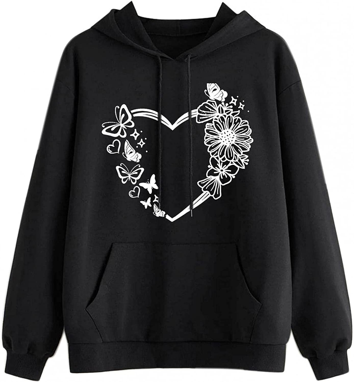 Toeava Sweatshirt for Teen Girls Women Heart Pattern Print Graphic Crewneck Hoodie Casual Long Sleeve Pullover Tops
