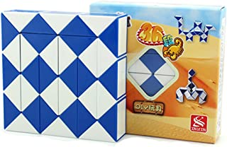 HJXD globle Magic Snake Twist Puzzle Twisty Toy Collection 36 Wedges Magic Ruler Blue