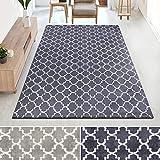 casa pura Kurzflor Teppich MARRAKESCH mit marokkanischem Muster | Rutschfester Latex-Rücken | Flurteppich, Wohnzimmerteppich, Küchenteppich, Schlafzimmerteppich | 2 Farben (schwarz, 100x145 cm)