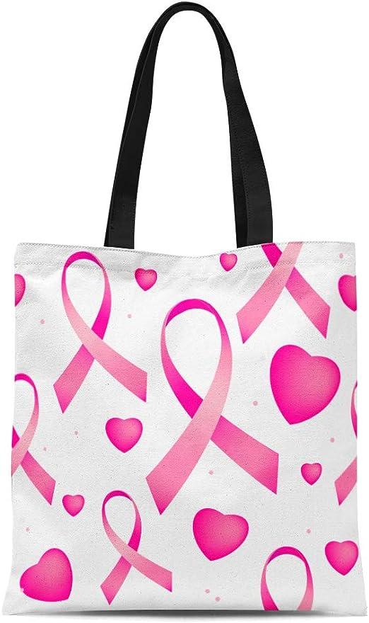 Unique  Gift Tote Shopper Beach Bag Pink Ribbon Shoulder Bag Breast Cancer Support Denim Handbag