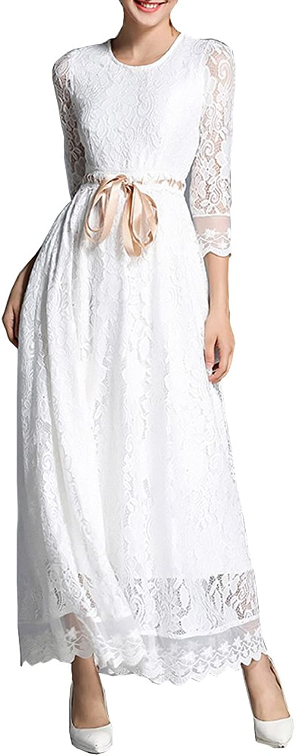 Dissa YL17618 Women Solid 3 4 Sleeve Midi Lace Hollow Cocktail Evening Party Dress