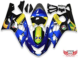 VITCIK (Fairing Kits Fit for Suzuki GSX-R750 GSX-R600 K4 2004 2005 GSXR 600 750 K4 04 05 Plastic ABS Injection Mold Complete Motorcycle Body Aftermarket Bodywork Frame (Blue & Yellow) A137