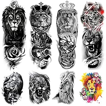 Kotbs 8 Sheets Full Arm Temporary Tattoos Sleeve and Half Arm Tattoos Temporary Stickers Lion Animal Temporary Tattoo for Men Women Adults Fake Tattoos