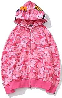 N-B SZRZM Fashion Hip Hop Ba-pe Shark Camo Print Cotton Sweater Couple Casual Loose Zip Hoodie Jacket For Men/Women