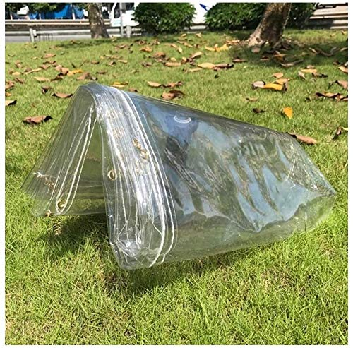 NLRHH Glass Clear Tarpaulin Waterproof Heavy Duty Rainproof Shed Metal Ring Eyelet Greenhouse Outdoor Equipment Car Cover, 21 Sizes (Color : Clear, Size : 5x6.0m) (Color : Clear, Size : 1.5x1.7m)