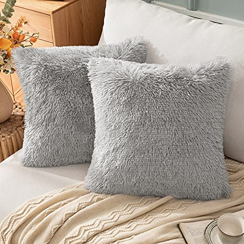 EMEMA Faux Fur Pillow Covers Luxury Fluffy Throw Pillow case Soft Decorative Square Cute Plush Cushion Covers Mongolian Merino Home for Sofa Livingroom Bedroom 16x16 Inch 40x40 cm Grey Pack of 2