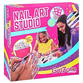 GirlZone Nail Art Studio Set Nail Art Stickers 3 Nail Salon Pens and Makeup Bag Great Birthday Gift for Girls