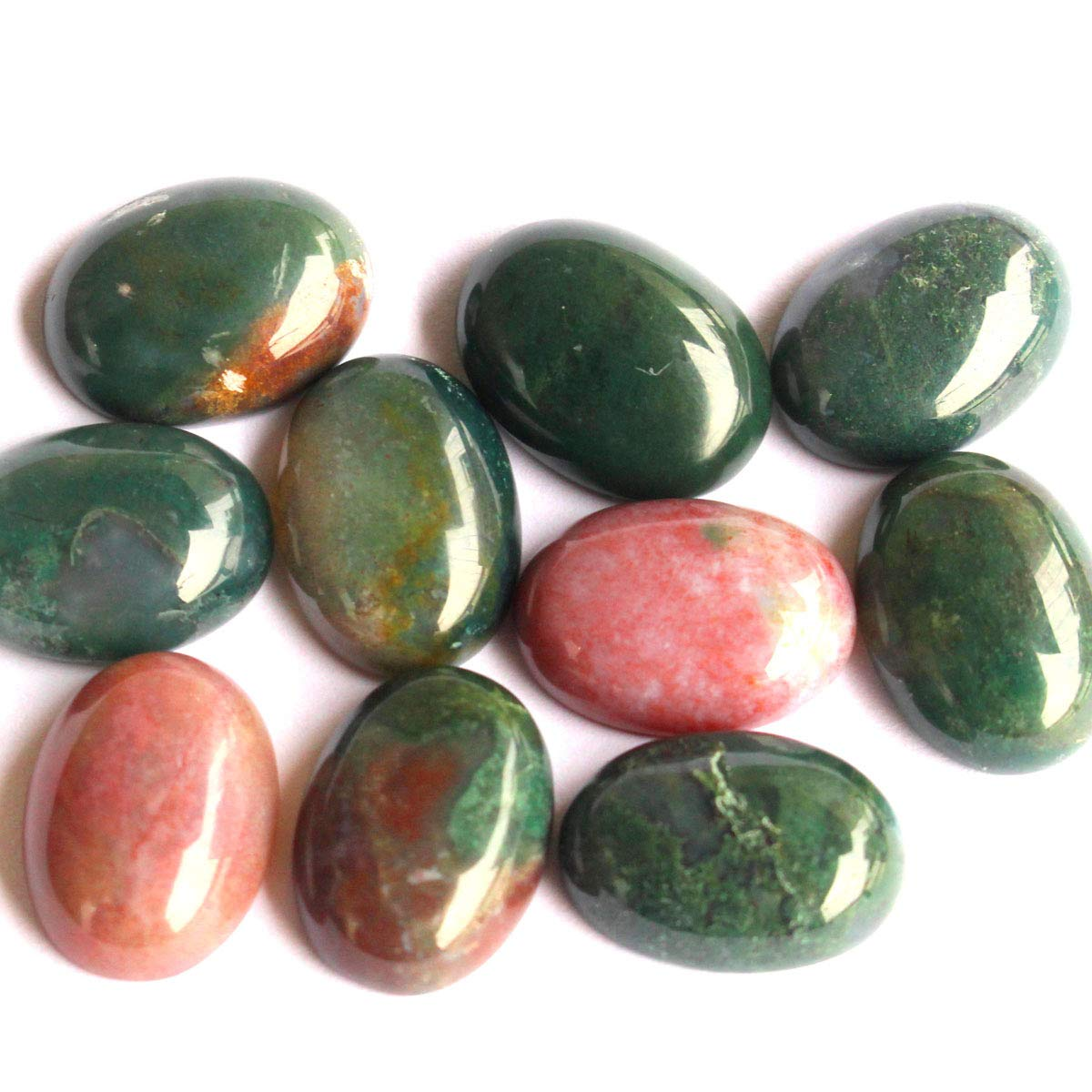 10pcs Stone Natural Real Gemstones Cabochons for DIY Jewelry Making Beads Cabs (Indian Agate, Oval 12x16mm)