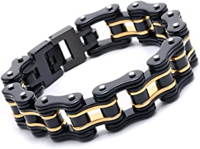Mens Bicycle Bracelet Stainless Steel Biker Link Chain Wristband Motorcycle Bangle 8.5 inch