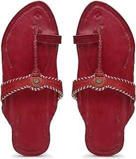 KALAPURI� Ladies Kolhapuri Chappal in Genuine Leather with Pink Pointed Shape Base and Tiny Pink Upper. Handmade in Kolhapur