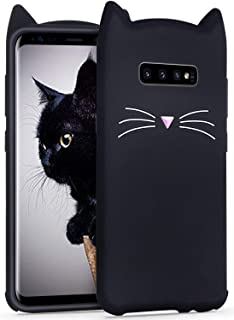 Joyleop Case for Samsung Galaxy S10 Plus,Cartoon Soft Silicone Cute Kitty 3D Fun Cool Cover,Kawaii Kids Girls Animal Character Rubber Gel Skin Unique Protector Cases for Samsung S10 Plus Black Cat