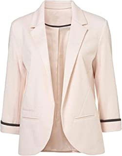 5aa3cc6572e FACE N FACE Women s Cotton Rolled up Sleeve No-Buckle Blazer Jacket Suits