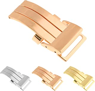 StrapsCo Stainless Steel Deployant Deployment Clasp Watch Band Strap Buckle for Breitling - 20mm - Rose Gold