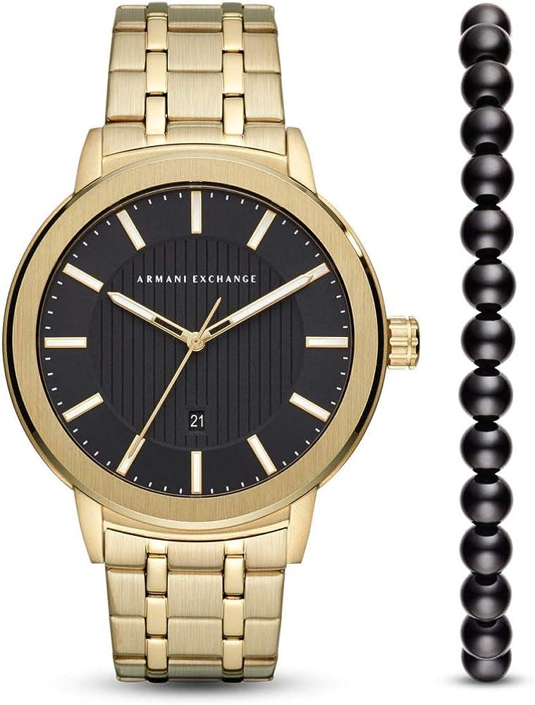Armani exchange, orologio per uomo, in acciaio inossidabile,piu` bracciale di perline AX7108