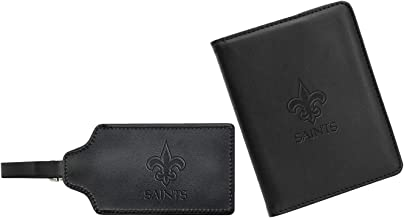 NFL Leather Passport Cover & ID Luggage Tag Gift Set, RFID Blocking, Travel Document Organizer, Protects Personal Informat...