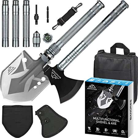 Survival Shovel Axe, BANORES Camping Shovel Multifunctional Sets 19.37-38.97inch Lengthened Handle and Thicken Anti-Rusting Head with Storage Pouch for Camping, Hiking, Backpacking, Emergency