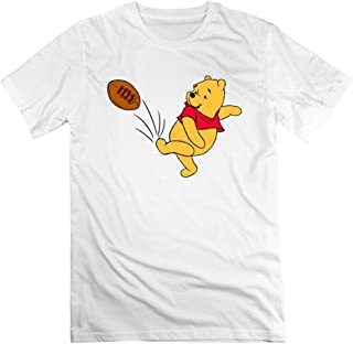 WYKY Mens Cute Winnie The Pooh Playing Soccer Short Slev Tee Tshirt