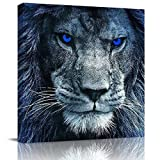 3D Lion Head with Blue Eyes Animal Pattern Square Wall Art on Canvas,Modern Pictures Artworks for Living Room Bedroom Office Hotel Home Decor,Stretched by Wooden Frame,Ready to Hang,12x12 Inch