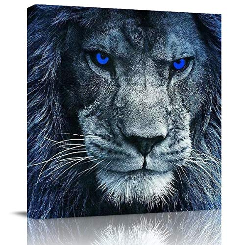 Canvas Wall Art Painting for Home Office Bathroom Decoration,3D Lion Head with Blue Eyes Animal Picture Giclee Print on Canvas Artworks,Framed,Ready to Hang,16x16in