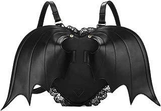Haolong Womens Girls Black Casual Bat Heart Backpack Wing Gothic Goth Punk Visual Bag