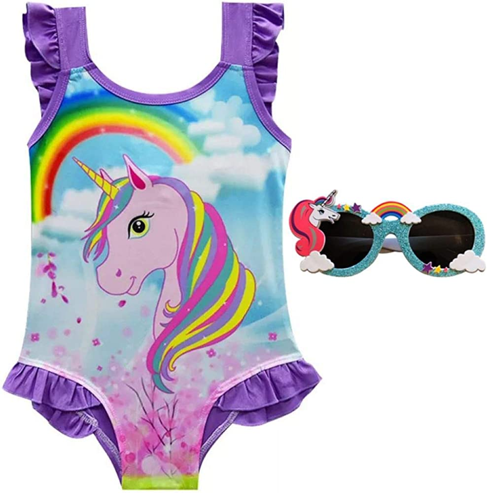 Unicorn Swimsuit with Free Unicorn Sunglasses, Great Unicorn Gifts, it Looks Good in Unicorn Float Pool Party UN2 A
