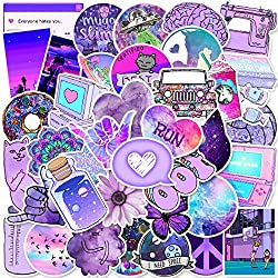 50 Purple Cute Stickers, Stickers for Laptop, Hydro Flask, Water Bottle, Skateboard Phone - Aesthetic Stickers - Stickers for Teens, Adults, Kids - Sticker Pack No Repetition - Vinyl Waterproof