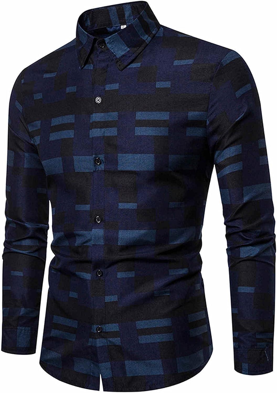 AMTF 2021 Hawaiian Mens Blouse Shirt Casual Slim Stand Collar Button Shirt Regular Fit Autumn Long Sleeve Tunic Tops