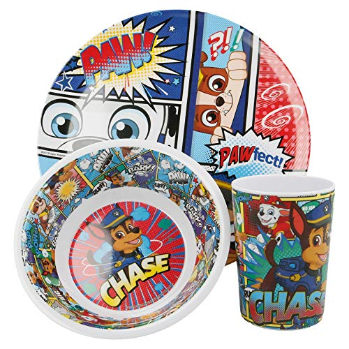 Official Nickelodeon Paw Patrol Chase 3Pcs Coloured BPA Free Melamine Dining Set - Plate, Bowl and Tumbler Dinnerware Set for Children
