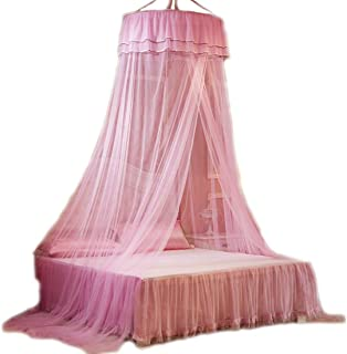 HugeHug Round Top Mosquito Net Bed Canopy - Pure Solid Color Collections, Foldable for Crib/Twin/Full/Queen/King (hot Pink)