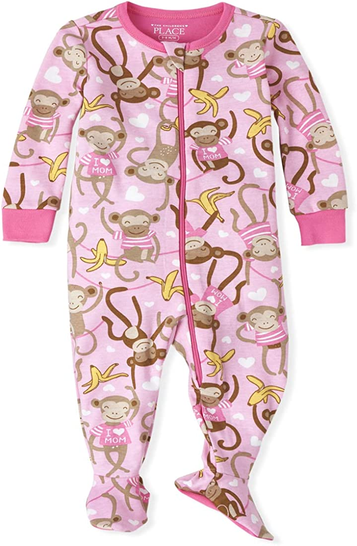 The Children's Place Girls' Baby and Toddler Monkey Snug Fit Cotton One Piece Pajamas
