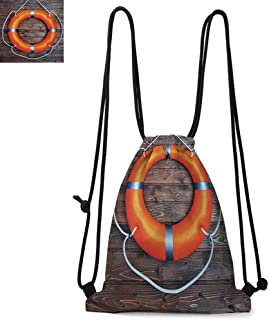 b0e9631b417f Buoy Easy to carry drawstring backpack A Life Buoy on the Wooden Wall  Lifesaver Safety Emergency
