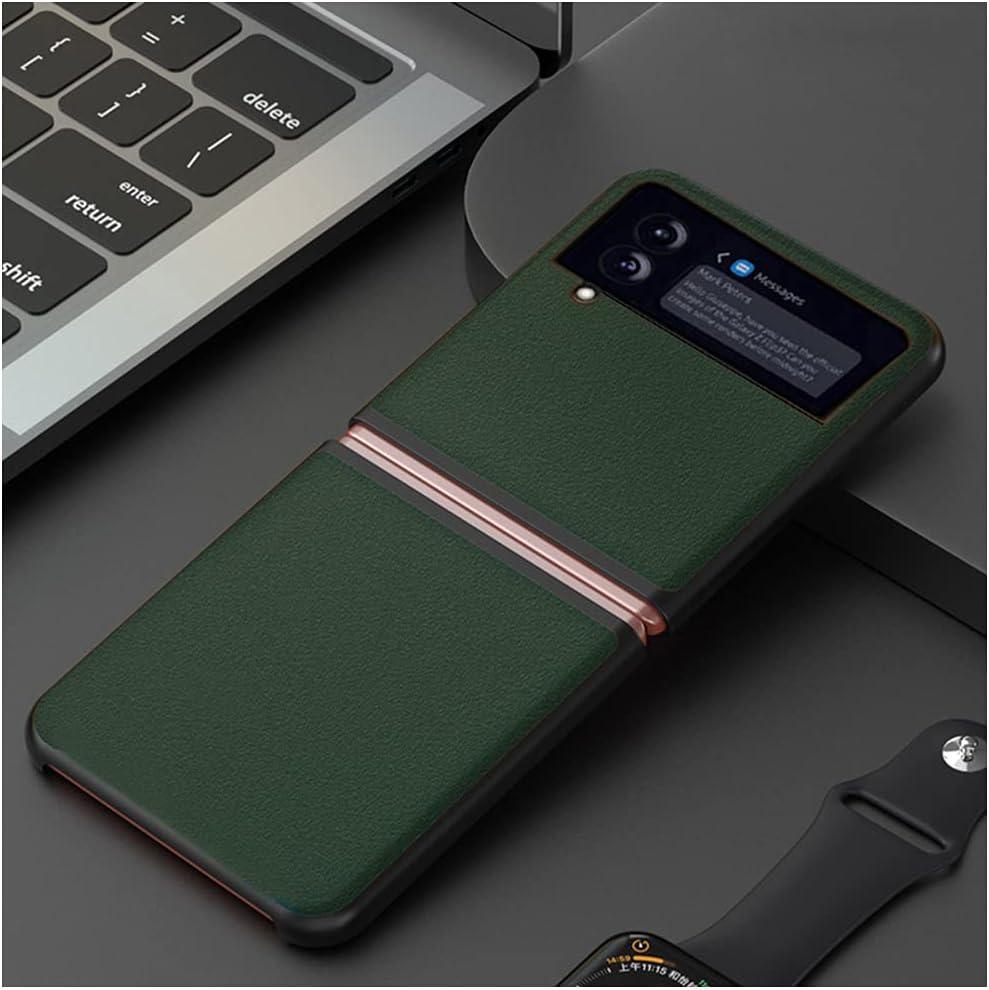 DOOTOO for Samsung Galaxy Z Flip 3 Case Ultra Thin Carbon Fiber Leather Hybrid PC Shockproof Protection Fold Cover Case for Samsung Galaxy Z Flip 3 5G 2021 (Green 01)
