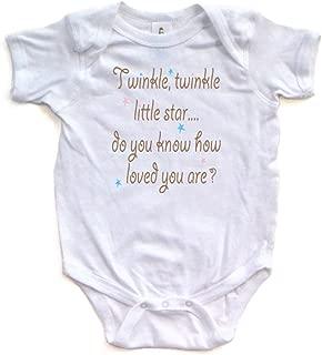 Cute Unisex Twinkle Little Star Nursery Rhyme Short Sleeve Comfy Baby Bodysuit