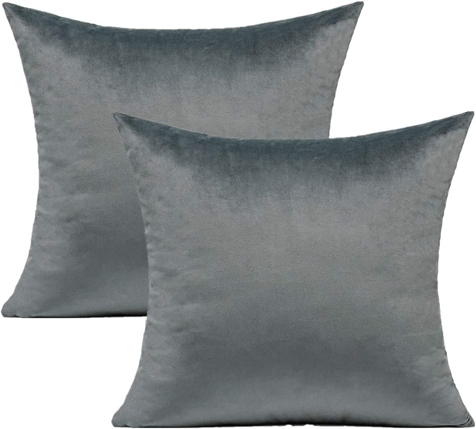 Grey Gray Velvet Throw Pillow Covers Ranking TOP7 24x24 Inch Max 65% OFF So Soft Set 2 of