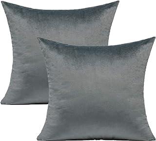 VAKADO - Funda de cojín 50 x 50 cm, de terciopelo supersuave, cuadrada, decorativa, funda de almohada para dormitorio, salón, sofá, cama, coche, juego de 2, color gris